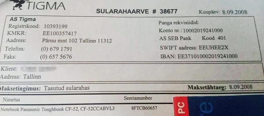 Panasonic Toughbook CF-52 tasutud sularahas 8.9.2008